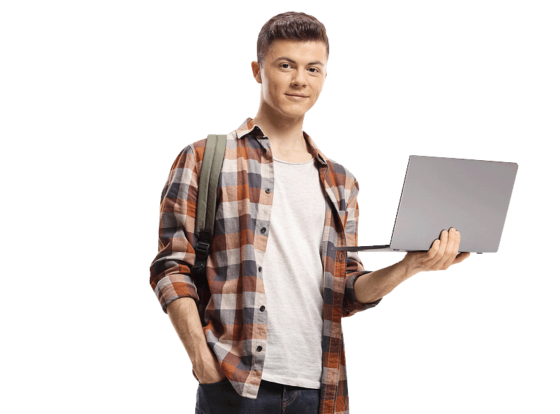 Male student with a laptop
